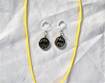 Batman theme necklace and earrings set