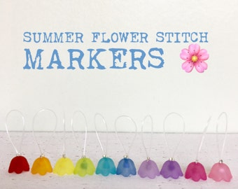 Stitch markers for knitting snag free lace markers sock knitting spring markers - SUMMER FLOWERS
