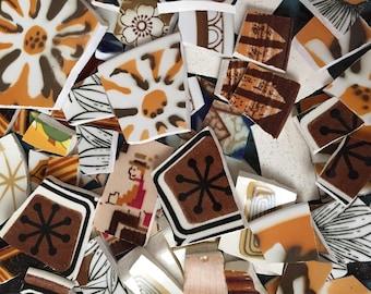 100 Mosaic Tiles Mix Broken Plate Art Hand Cut Pieces Supply Vintage Retro Brown 100