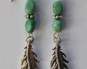 Sterling Silver Eagle Feather Earrings with Turquoise Beads