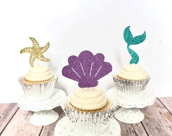 Under the Sea cupcake toppers/ Mermaid cupcake toppers/ set of 12/ last splash bachelorette
