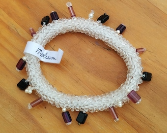 """Ndeblele bead-woven """"Charming"""" Bracelet, Translucent with accents of Purple and Violet Charms (beads)"""