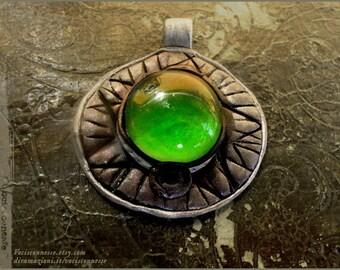 Medaillon pendants or Ring - choose Emerald Green or Azure - OOAK - Handmade jewelry
