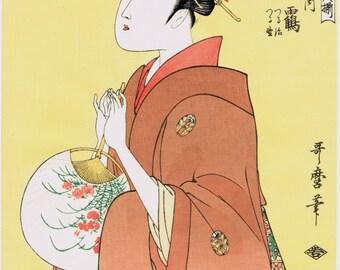 """Japanese Ukiyo-e Woodblock print, Utamaro, """"The Coutesan, Hinazuru of the Chojiya"""""""
