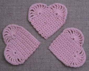 set of 3 heart pink pale crochet height 4.5 cm