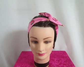 Pink stiff tie chic vintage headband with a cupcake and strawberries