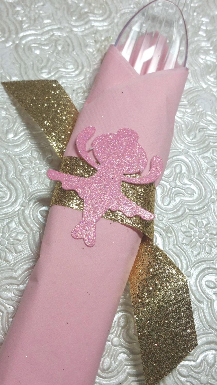 Ballerina Ballet napkin rings with glitter ribbon for 1st birthday ...
