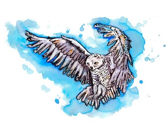 Hedwig Owl Harry Potter Hogwarts Hand Painted Watercolor Print