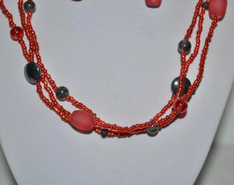 triple red and gray hematite necklace