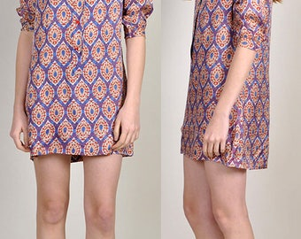 vintage Silk Indian 1960's patterned shirt dress       XS/S        H11