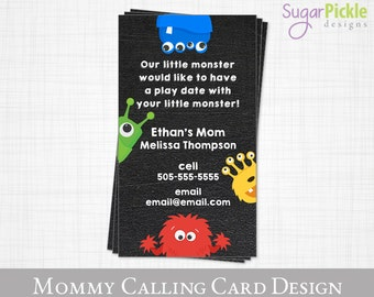 Play Date card // Our little Monster wants a playdate // Mommy Business card // mom of card // Mommy Calling Card // Printable JPEG