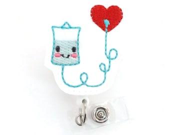 Ina the IV Bag - Retractable Badge Reel - Name Badge Holder - IV Nurse Badge Holder - Infusion Nurse Badge - Felt Badge - RN Badge Holder