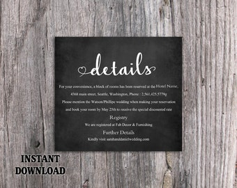 DIY Wedding Details Card Template Download Printable Wedding Details Card Editable Chalkboard Details Card Heart Details Card Enclosure Card