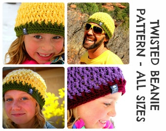 CROCHET HAT PATTERNS Twisted Beanie - Adults & Kids Sizes