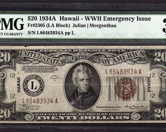 1934A Twenty 20 Dollar Hawaii Federal Reserve Note PMG 30 Very Fine Fr.2305 #1603740-001