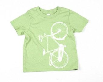 Kids Green Bike Tshirt  - Eco-Friendly - Organic - Advocado -Toddler - Small, Medium, Large - Boy - Girl