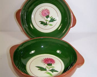 """Stangl Pottery """"Thistle"""" Pattern Small Bowls Set of 2 Brown Outside Glaze & Forest Green Interior Circle in Cream with Pink Thistle Flower"""