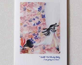MY FAIR LADY musical broadway film blank greeting card audrey hepburn faerie tale feet pygmalion stationary eliza doolittle illustration