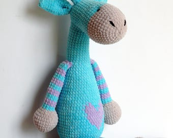 Blue giraffe/knitted toys/knitted toy/amigurumi/knit toys/knitted giraffe/crochet giraffe/giraffe/amigurumi giraffe/amigurumi animals/toys