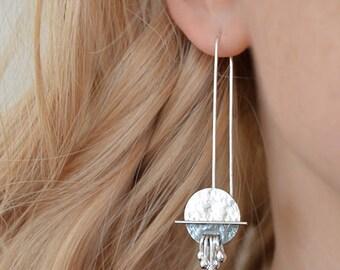 Silver earrings. Long sterling silver earrings. Drop earrings. Silver jewellery. Handmade. MADE TO ORDER.