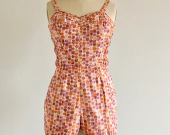 Vintage 1950's Hawaiian Print Playsuit Vintage Romper Cotton Sun Suit The Kahala Made in Hawaii - Ex Condition
