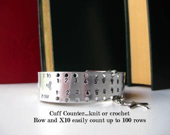 Cuff Knitting Counter - Hand Stamped Aluminum - Knitting Row Counter Up to 100 rows, gift for a knitter, crocheter, manual row counter,