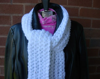 Snowy white crocheted scarf with sequins