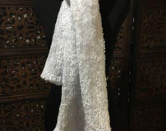 Fuzzy White Scarf