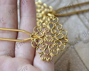New style flower Filigree Gold hair stick or hair fork, hair pin,metal hair fork,wire wrap hair accessories,hairpin finding,hair accessories