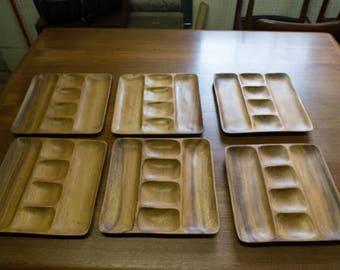 Vintage Set of 6 Suar Wood Segmented Serving Plates