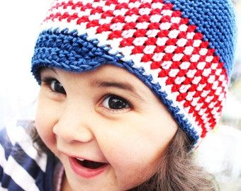 3 to 6m Baby Newsboy Hat 4th July Summer Baby Hat Newsboy Cap - Cotton Baby Hat Red White Blue Baby Photo Prop Photograpy Prop Baby Gift