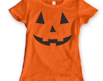 Adult Pumpkin Face Funny Humor Costume Orange Basic Women's T-Shirt