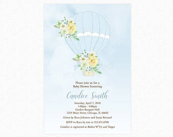 Hot Air Balloon Baby Shower Invitation, Blue Balloon, Boy Baby Shower Invitation, Personalized, Printable or Printed