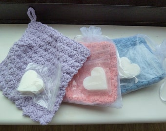 Cotton facecloth and soap