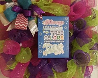 Summer Wreath For Door Colorful, Color Wreath, Fun Wreath, Spring Colors Wreath, Funky Bow Wreath