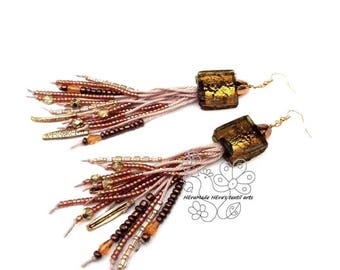 Golden long fringe earrings tassel statement earrings bohemian fringes boho style gift for girlfriend Christmas giftideas