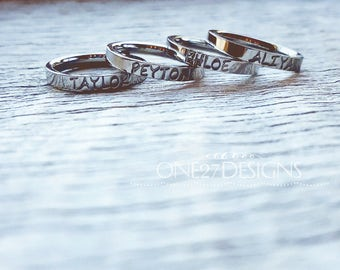 Hand Stamped Ring Name Ring Stacking Ring Mothers Ring Personalized Name Ring 3mm Shiny Stainless Steel comfort fit Mother's Day