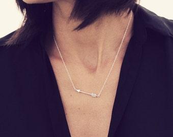 Sterling Silver Arrow Necklace /Sideways Arrow Necklace / Layering Silver Arrow Necklace / Large Silver Arrow Necklace / Celebrity Inspired