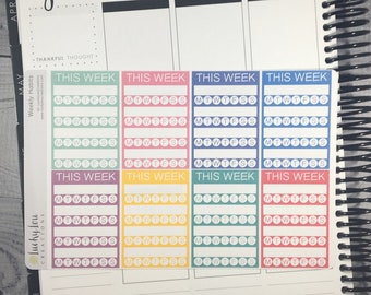 Set of 8 Sidebar THIS WEEK Habit Tracker stackable weekly stickers - Option to customize colors