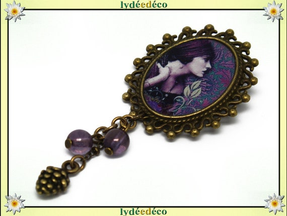 Retro pin resin LADY violet purple green brass pendant oval 18 x 25mm charm beads pinecone