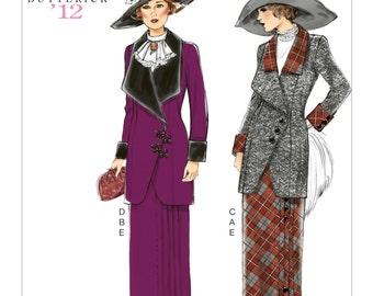 B6108 Butterick Women's Edwardian Dress, 1912 Reproduciton, 12' Retro dress, Edwardian skirt and jacket,