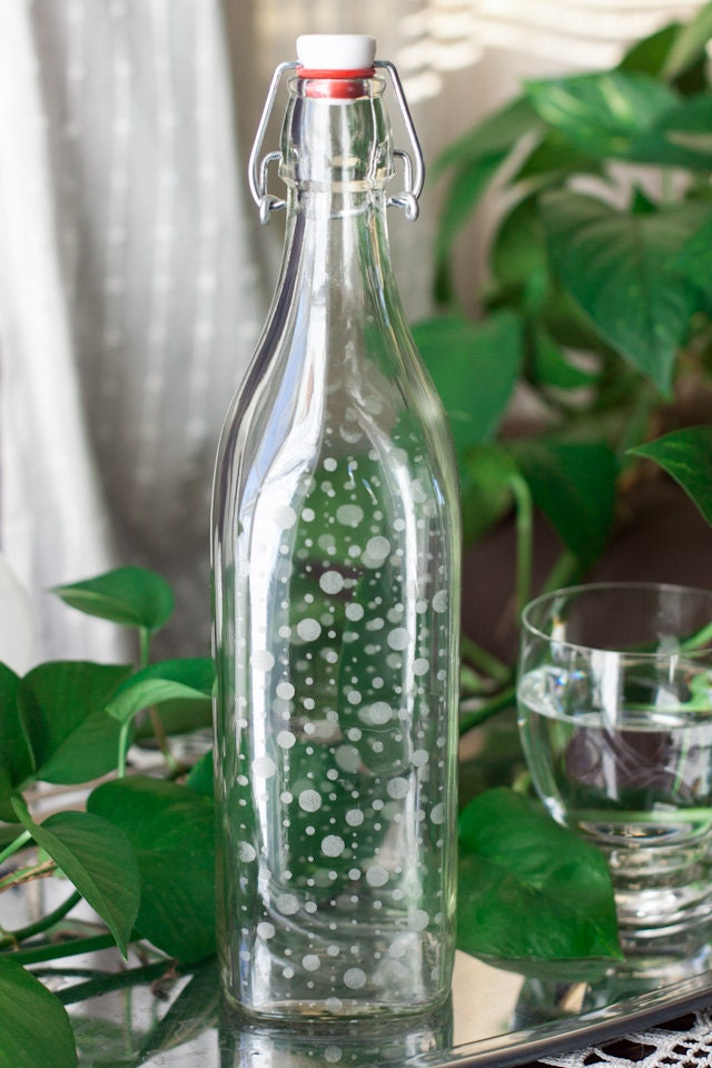 Etched Glass Water Bottle Bubbles