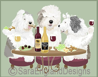 Dogs WINEing - Old English Sheepdog