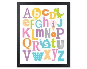 Alphabet poster, PRINTABLE, ABC wall art, nursery print, alphabet wall art, digital print, nursery decor, kids room decor, playroom, pink
