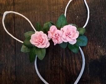 Light pink rose Boho Floral Bunny Headband