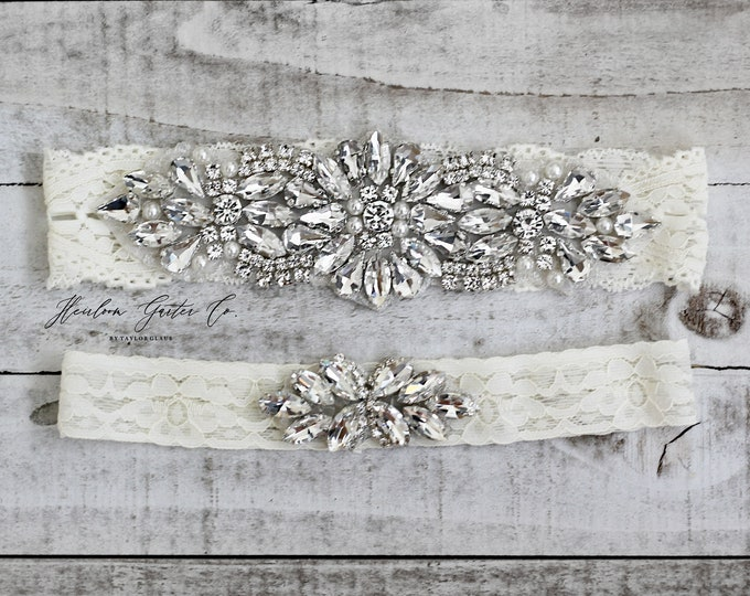 Wedding Garter, Something Blue, NO SLIP Lace Wedding Garter Set, bridal garter set, vintage rhinestones B47S-C21S