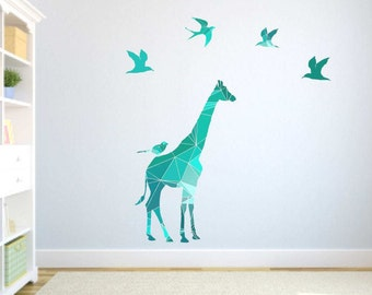 Geometric giraffe decal, Kids Giraffe decor, Giraffe Wall Decals, Nursery Giraffe, Abstract giraffe decal, Safari animal decor, birds decals
