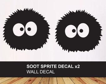 Soot Sprite VINYL DECALS - x2 Logo stickers - anime inspired - Car, Wall, Laptop - Studio Ghibli Spirited Away gift