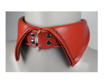 Red Leather Shirt Collar with D Ring - Your Choice of Stitching