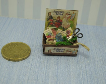 Garden seeds box  Dollhouse Miniature child game Accessory toy, Handmade Gaël Miniature  Vintage